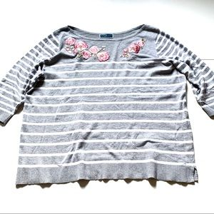 Karen Scott gray striped rose sweater 3X